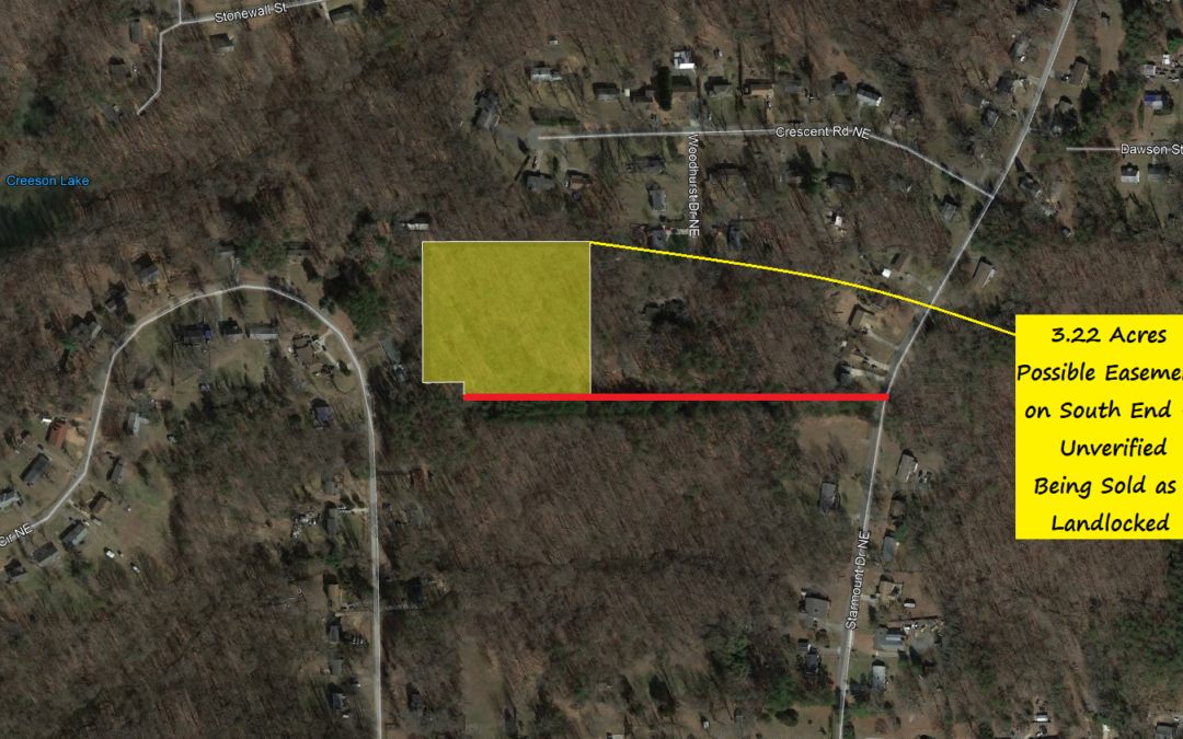 3.22 Acre Property Just Outside Winston-Salem – Possible Easement or May Need One – Priced Extremely Low for Size and Location in Case Easement Needs to be Obtained
