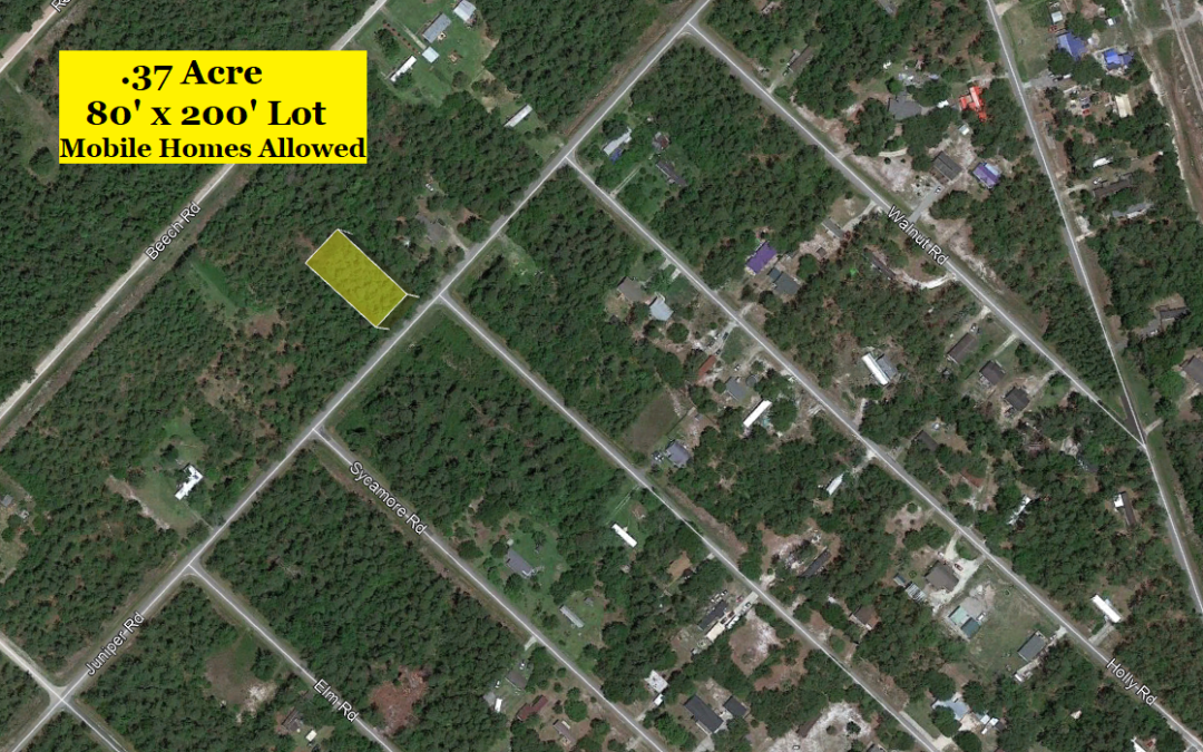 .37 Acre Lot in Boiling Springs Lakes, NC – Allows Mobile Homes and Single Family – Nearby Sold Comps at $12,000 and Up – Buy for $10,000 Financed with $1000 Down or $8000 Cash!!