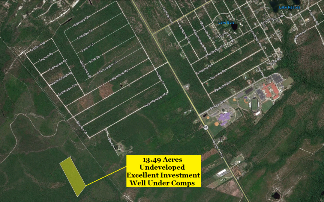 13.49 Acre Lot in Boiling Springs Lakes, NC – Undeveloped Tract – Great Investment – Nearby Sold Comps at $30,000 and Up – Buy for $15,000 Financed with $2000 Down or $12,000 Cash!!