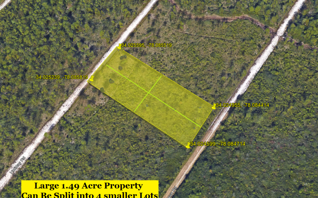 1.49 Acre Lot in Boiling Springs Lakes, NC – Allows Mobile Homes and Single Family – Large Lot Made Up of 4 Smaller Lots – Buy for $14,000 Financed with $2000 Down or $12,000 Cash!!